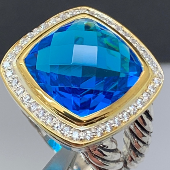 David Yurman Jewelry - David Yurman 925 18K Blue Topaz Diamonds Ring S6.5